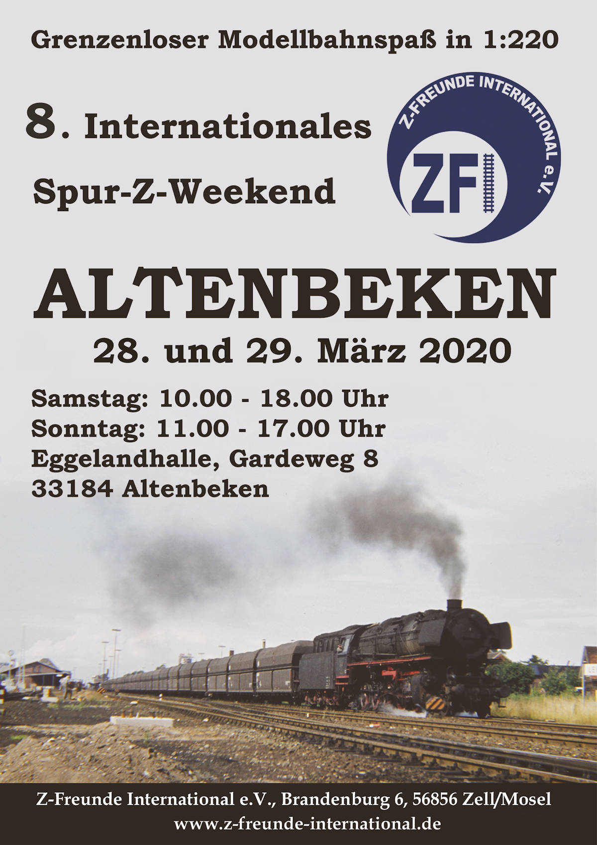 Plakat Internationales Spur-Z-Weekend in Altenbeken 2020